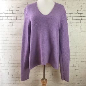 Eileen Fisher V-neck Merino Wool Sweater Sz M